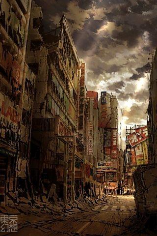 荒廃の街のスマホ用壁紙(iPhone用/320×480)