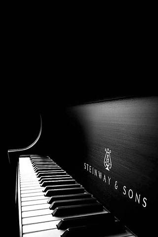 ブラック・ピアノのスマホ用壁紙(iPhone用/320×480)