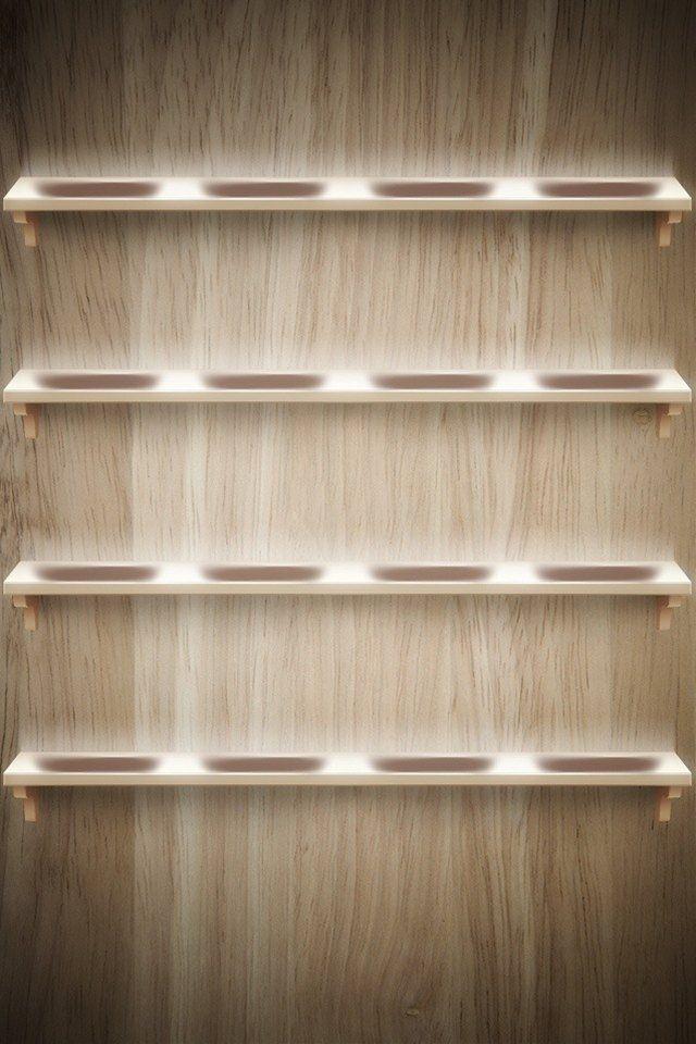 木目調の棚のスマホ用壁紙(iPhone4S用)