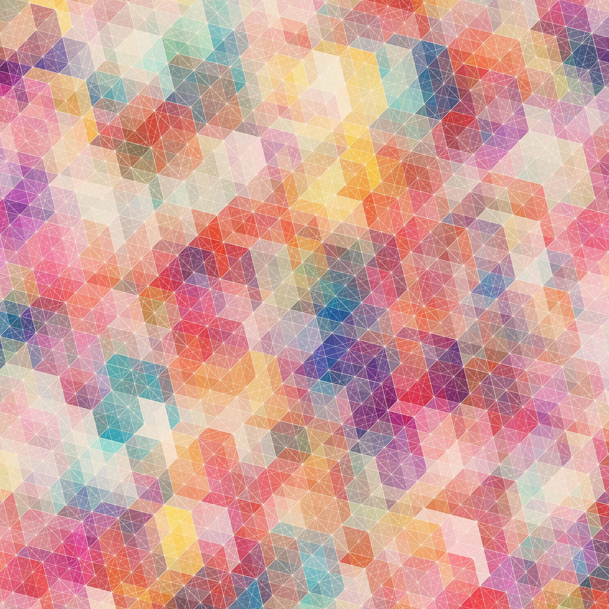 カラフルな幾何学模様の壁紙4(iPad3用/2048×2048)