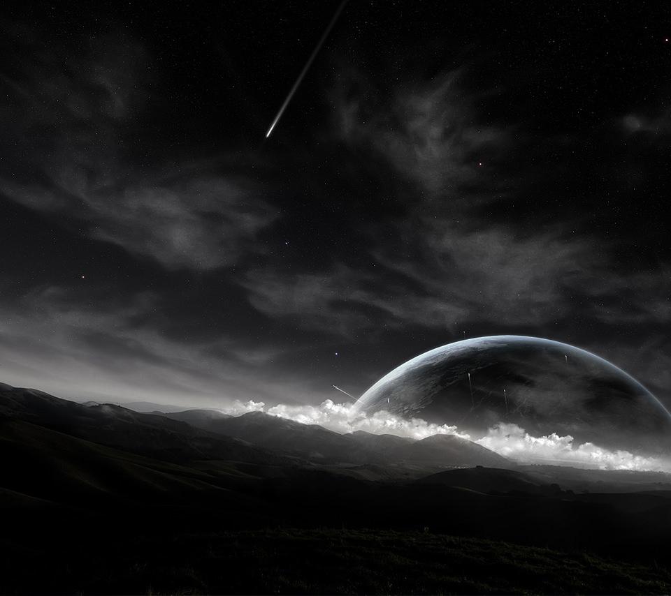 モノクロ写真と流れ星