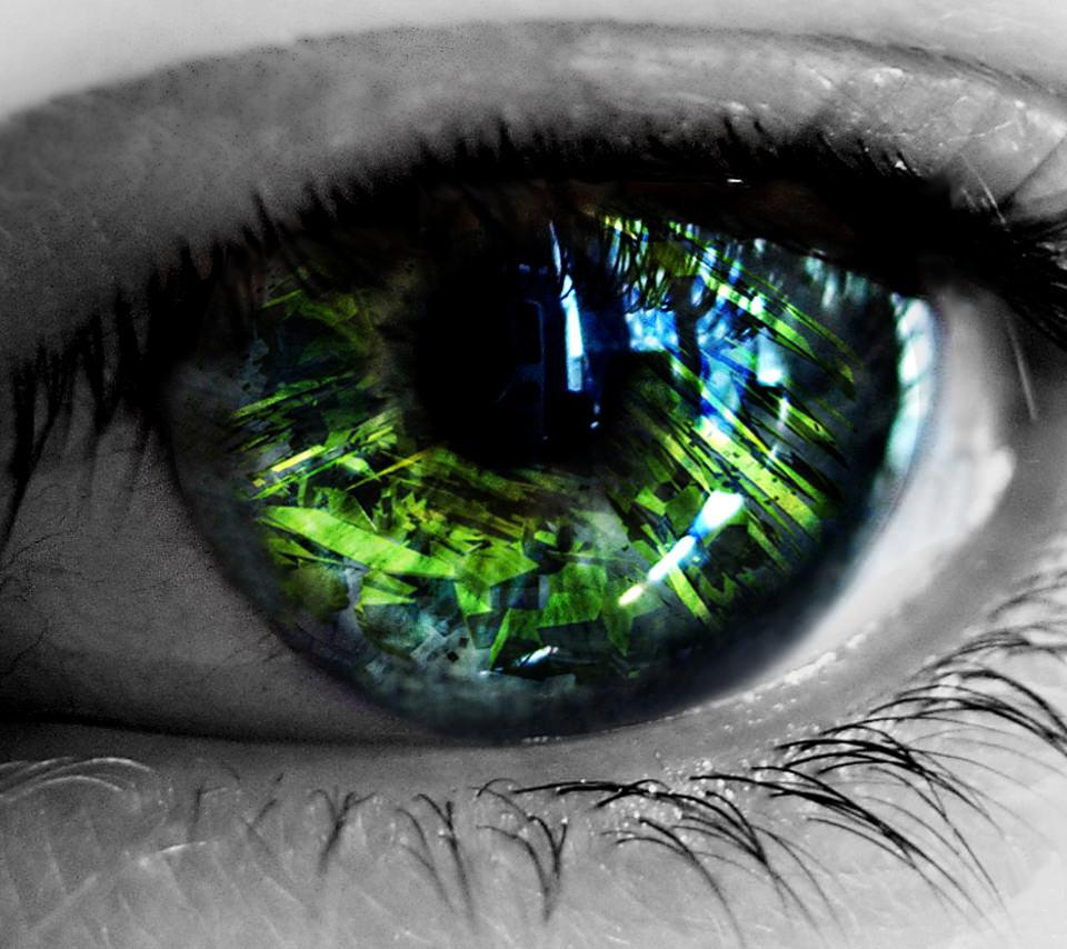 緑の瞳のスマホ用壁紙(Android用/960×854)