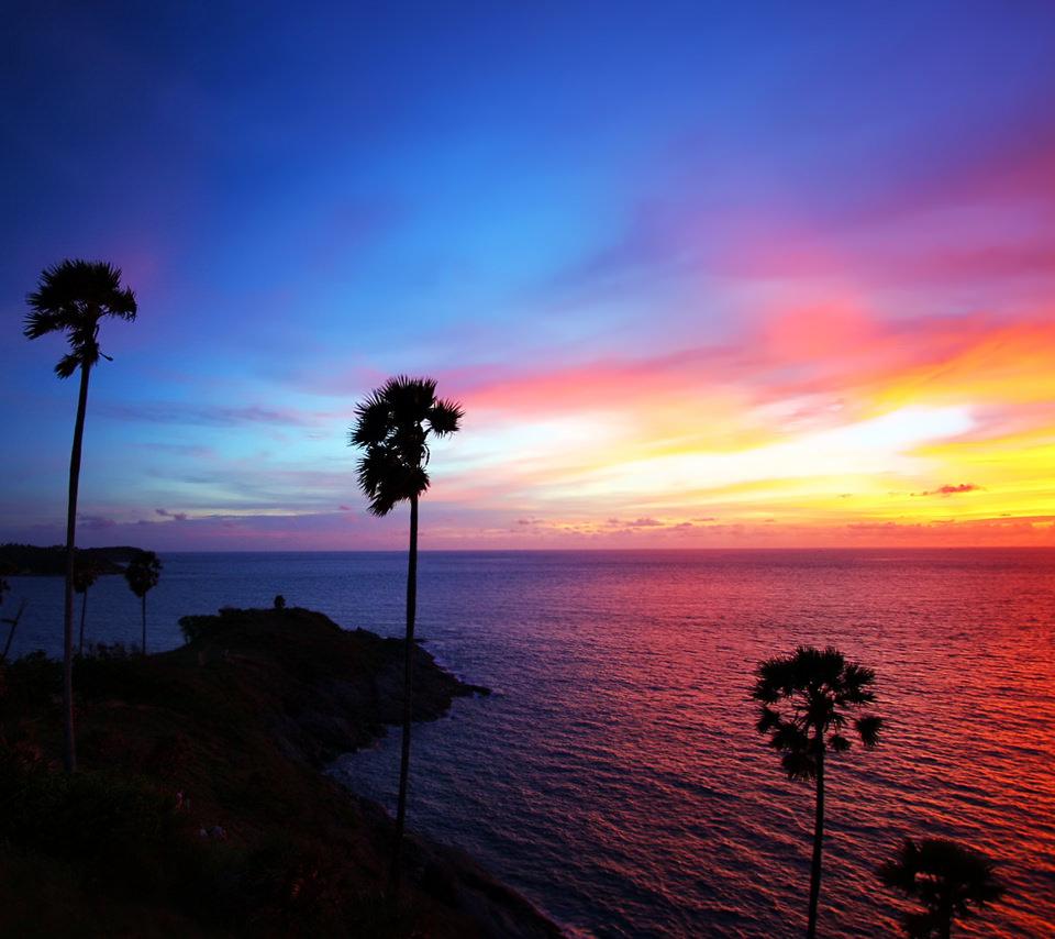 ハワイの夕焼けのスマホ用壁紙(Android用/960×854) 関連のスマホ壁紙  ハワイの夕