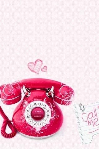 ピンクの電話のスマホ用壁紙(iPhone用/320×480)