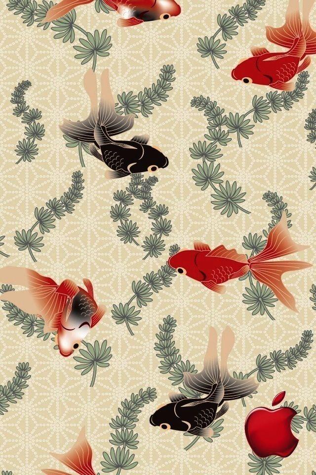 和風の金魚のスマホ用壁紙(iPhone用/640×960)