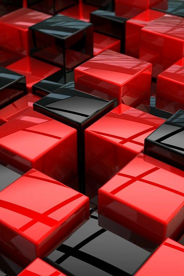赤と黒のキューブのスマホ用壁紙(iPhone4S用)