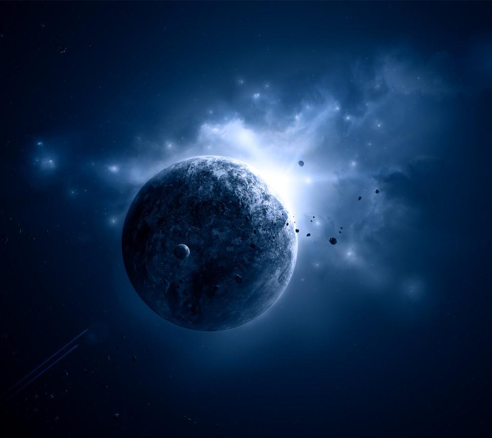 青い惑星のスマホ用壁紙(Android用/960×854)
