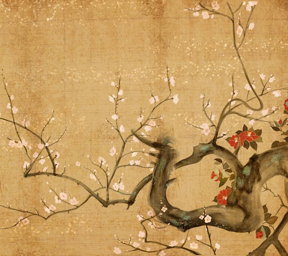 水彩画のスマホ用壁紙(Android用/960×854)