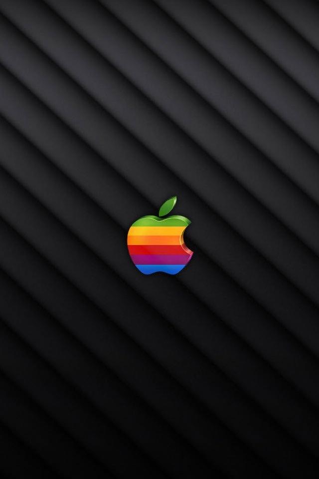 カラフルなアップルのスマホ用壁紙(iPhone4S用)