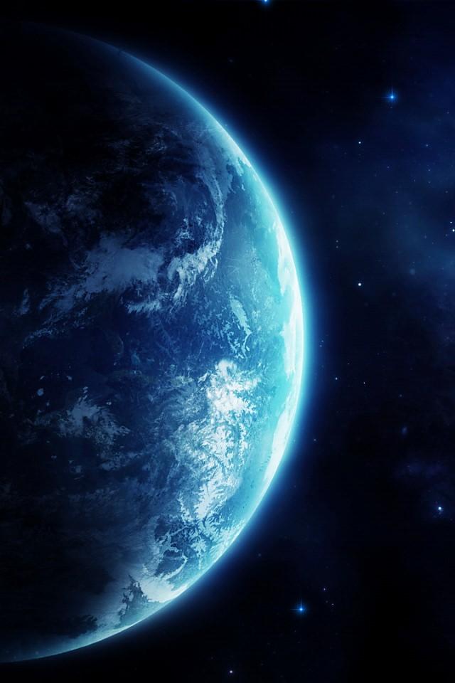 蒼い地球のスマホ用壁紙(iPhone4S用)