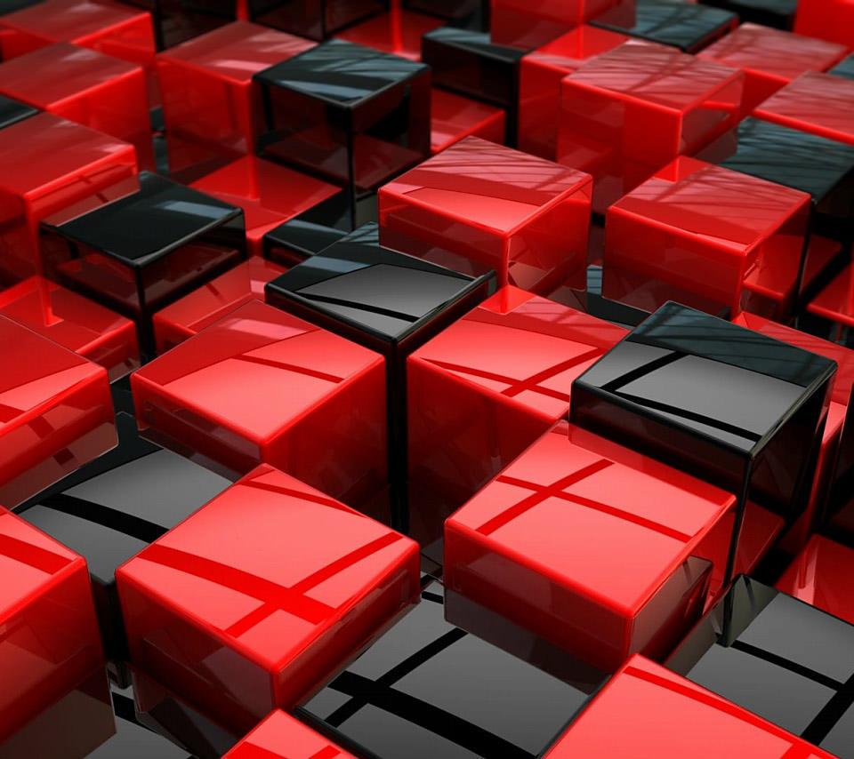 赤と黒のブロックのスマホ用壁紙(Android用/960×854)