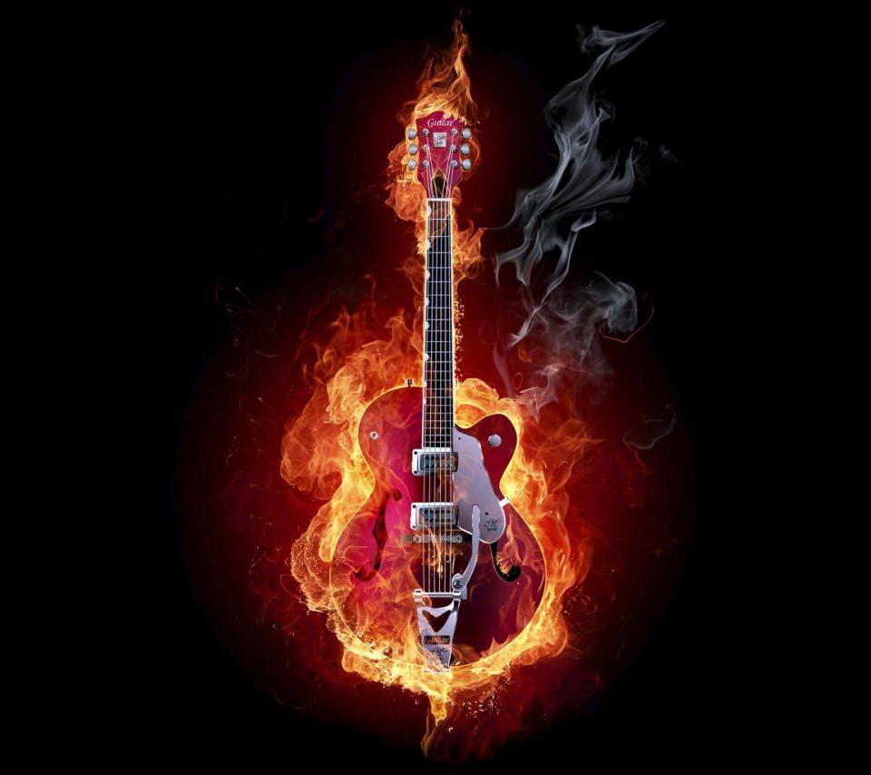 燃えるギターのスマホ用壁紙(Android用/960×854)