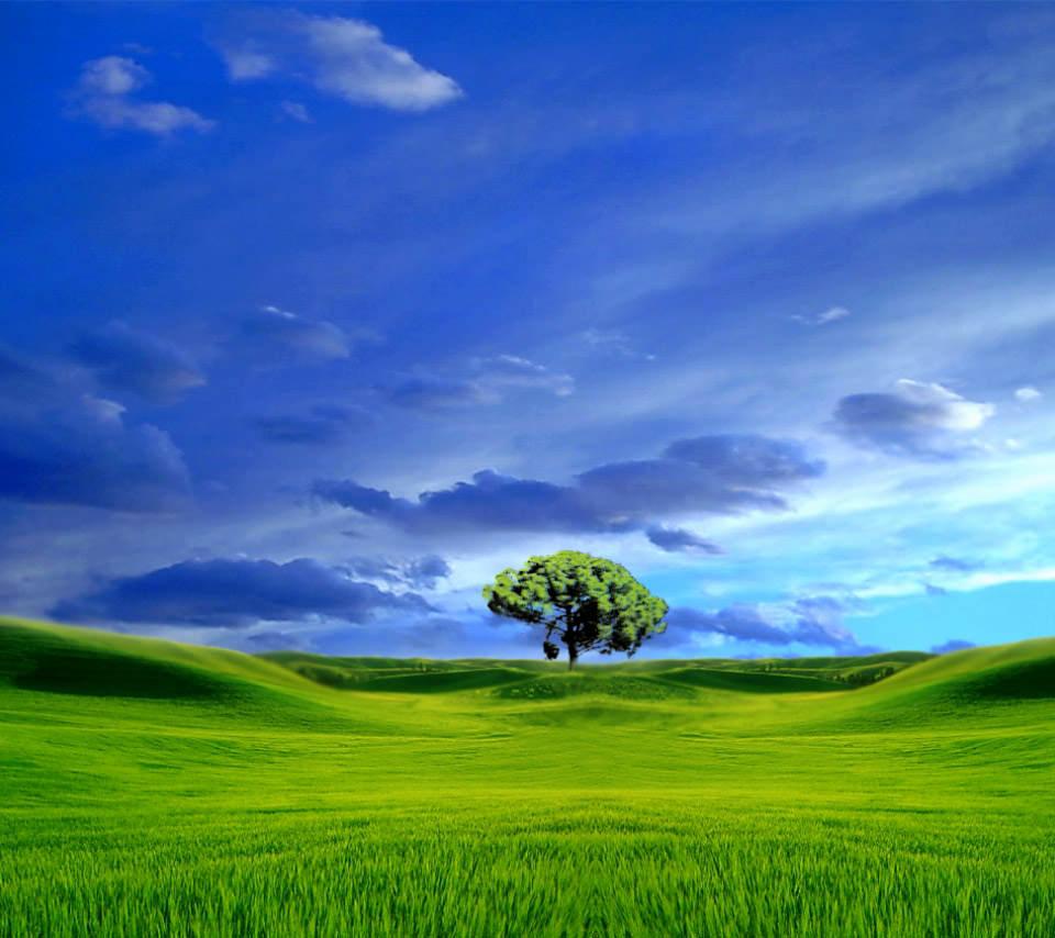 水彩画調の緑の大地のスマホ用壁...
