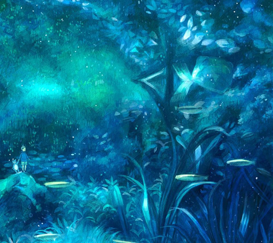 幻想の森のスマホ用壁紙(Android用/960×854)