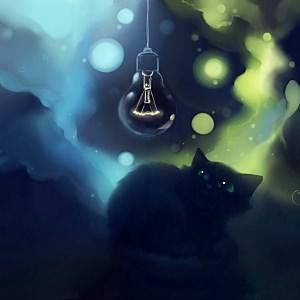 ランプと黒猫の壁紙(iPad3用/2048×2048)