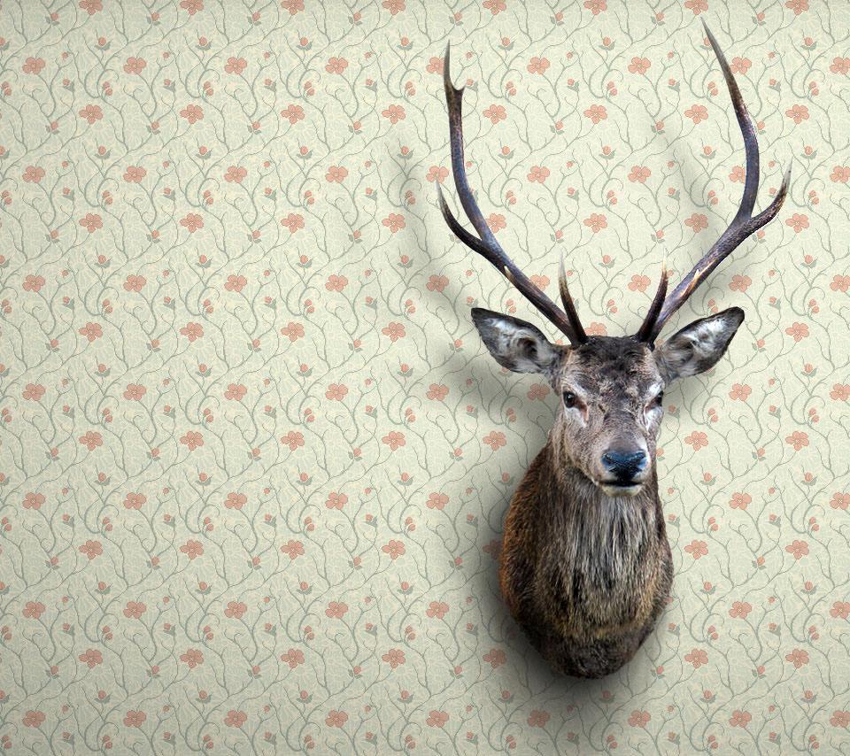 鹿の置物のスマホ用壁紙(Android用/960×854)