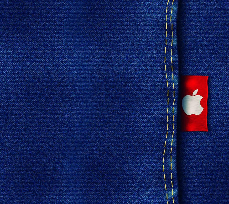アップルロゴ入りジーンズ スマホ用壁紙(Android用/960×854)