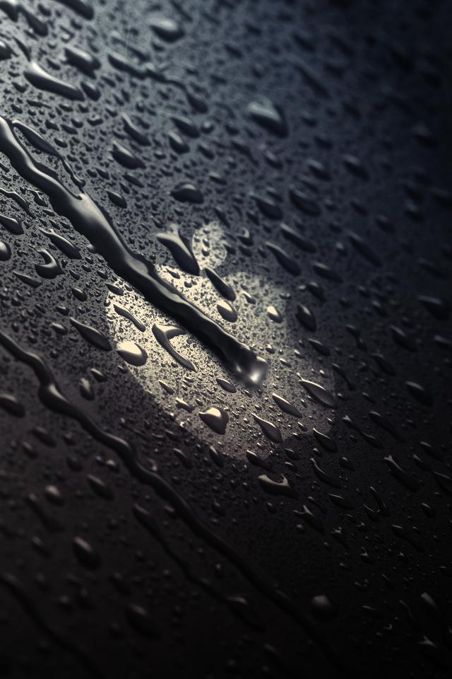 濡れたアップルロゴ スマホ用壁紙(iPhone用/640×960)