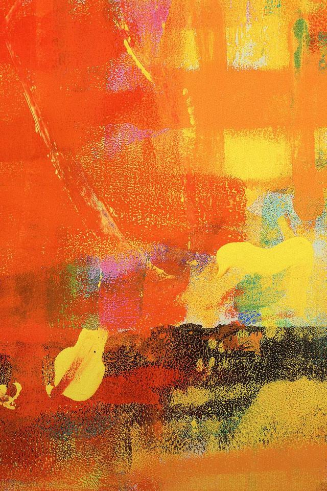 オレンジのグランジ風 スマホ用壁紙(iPhone用/640×960)