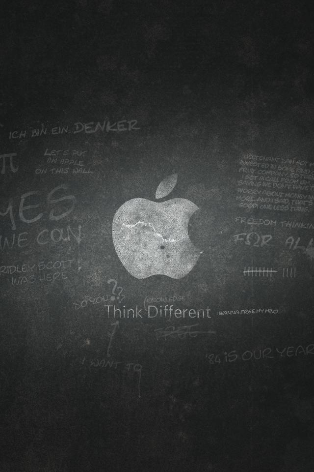 グランジ風アップルロゴ スマホ用壁紙(iPhone用/640×960)