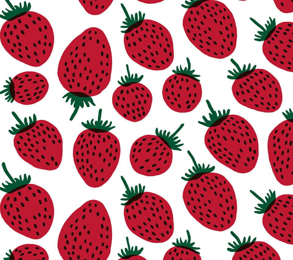 かわいいイチゴのスマホ用壁紙(Android用/960×854)