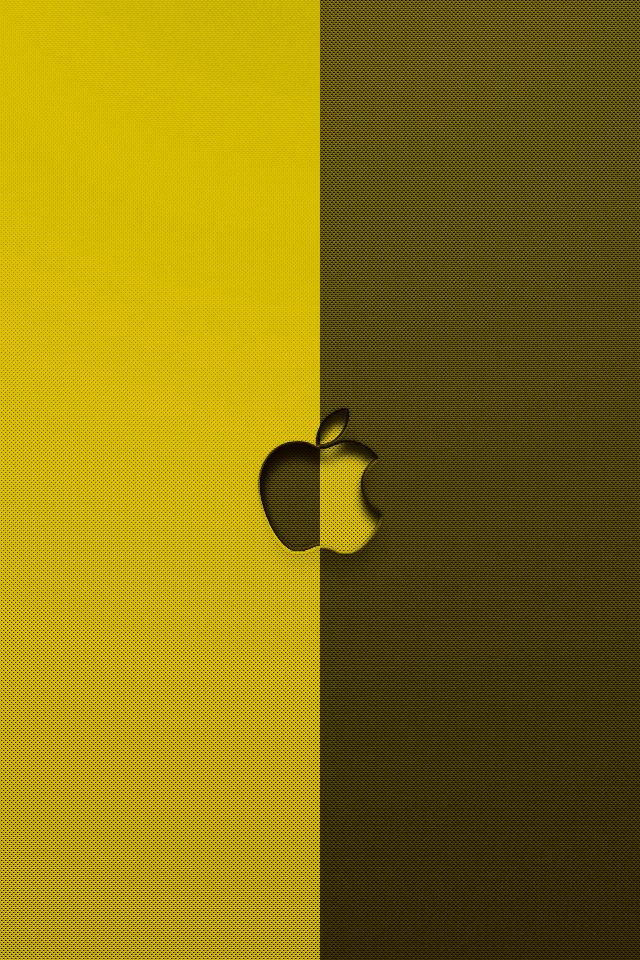 黄色・黒のアップルロゴ スマホ用壁紙(iPhone用/640×960)