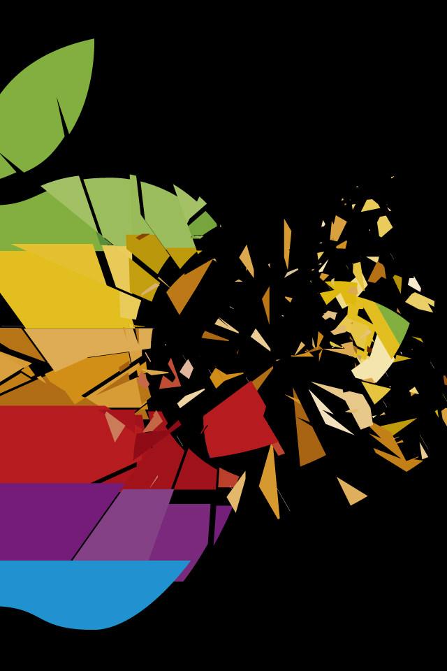 ポリゴン・アップルロゴ スマホ用壁紙(iPhone用/640×960)
