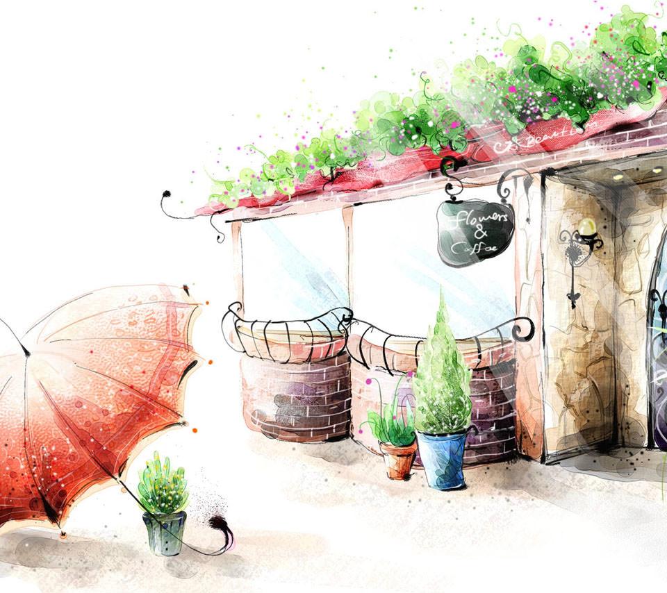 flowers&coffee スマホ用壁紙(Android用/960×854)