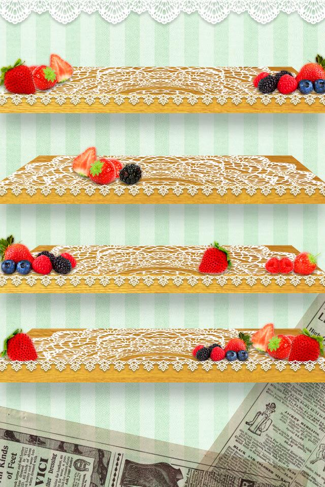 かわいいイチゴの棚 スマホ用壁紙(iPhone用/640×960)
