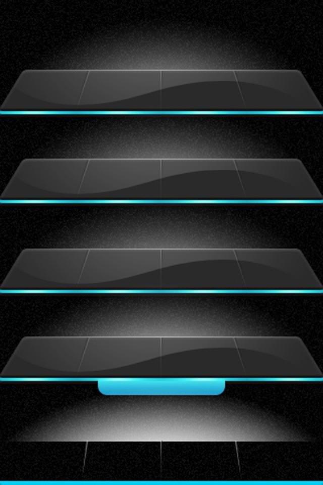 青・黒のサイバーなスマホ用壁紙(iPhone用/640×960)