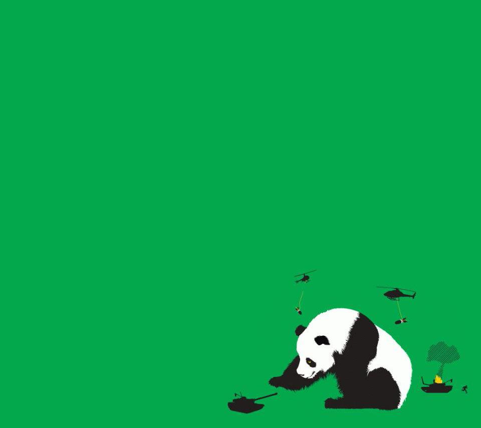 パンダの戦争 スマホ用壁紙(Android用/960×854)