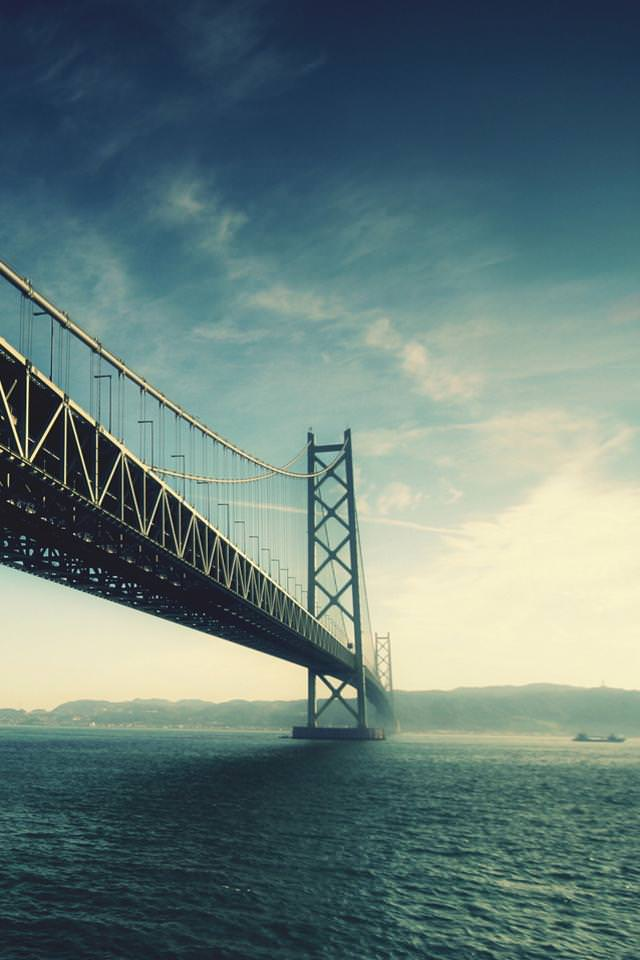 海を架ける橋 スマホ用壁紙(iPhone用/640×960)
