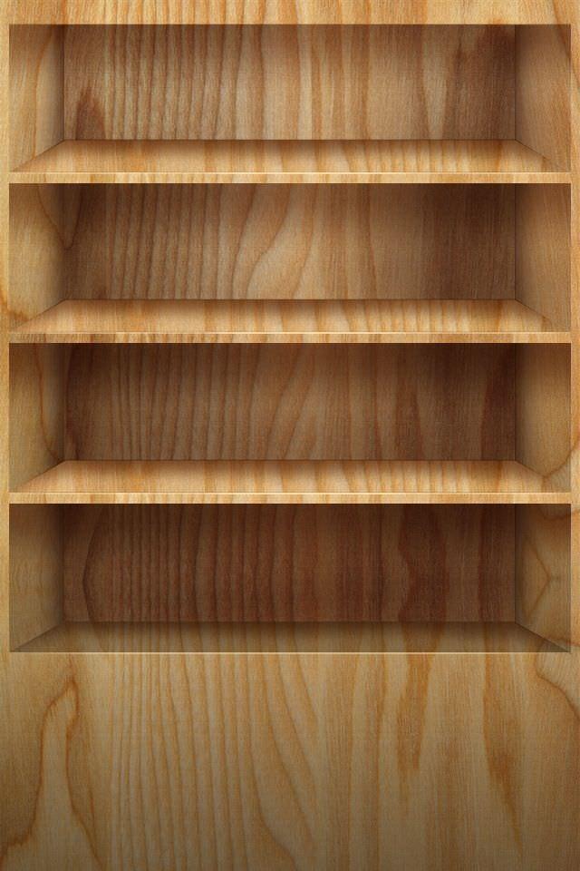 オーソドックスな本棚 スマホ用壁紙(iPhone用/640×960)