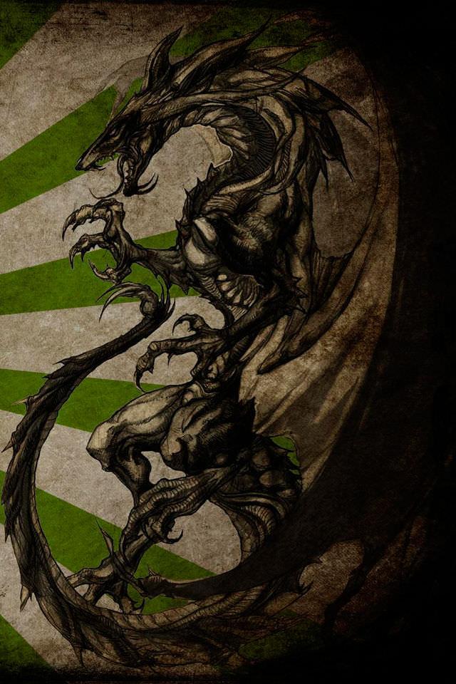 かっこいい龍のスマホ用壁紙(iPhone用/640×960)