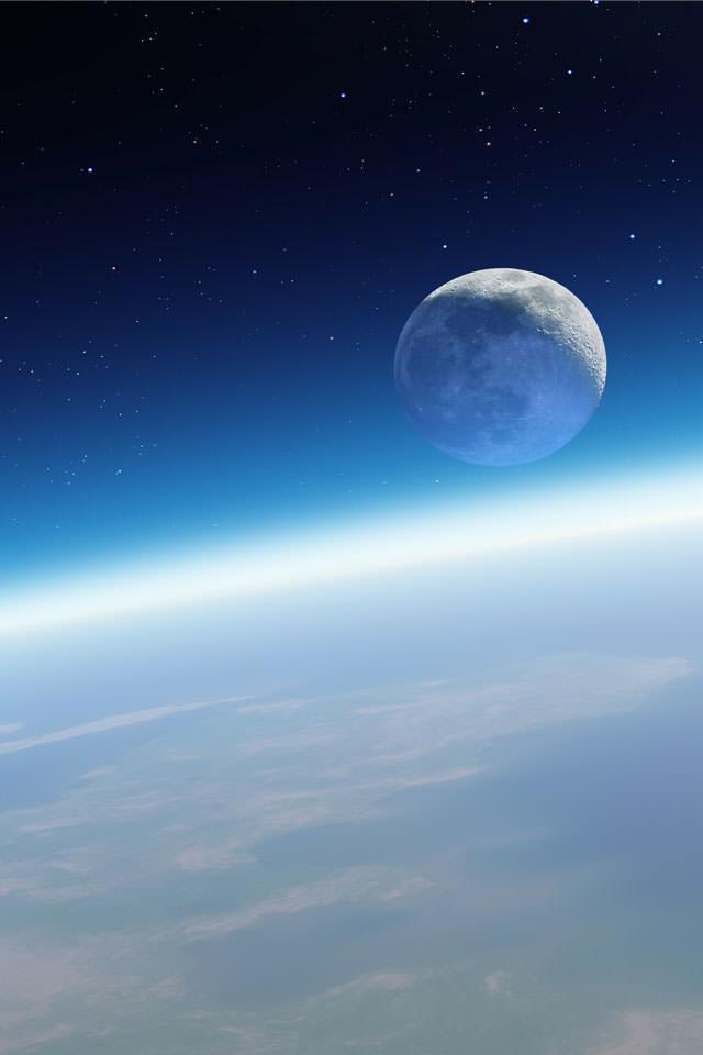 地球と月 スマホ用壁紙(iPhone用/640×960)