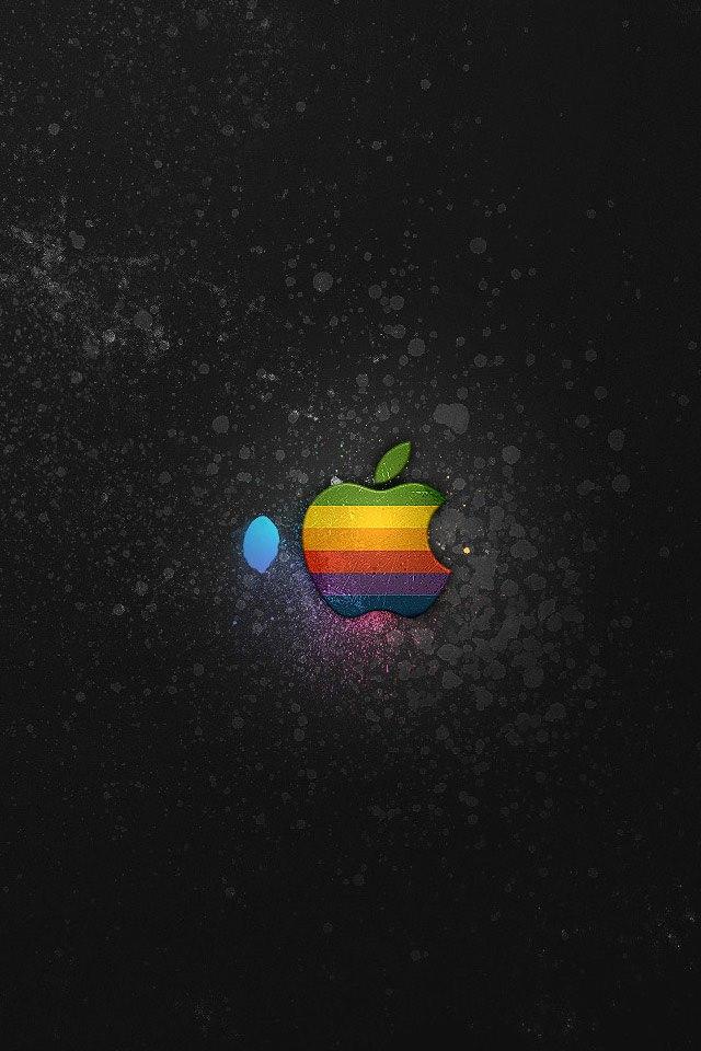 グラデーションのAppleロゴ スマホ用壁紙(iPhone用/640×960)