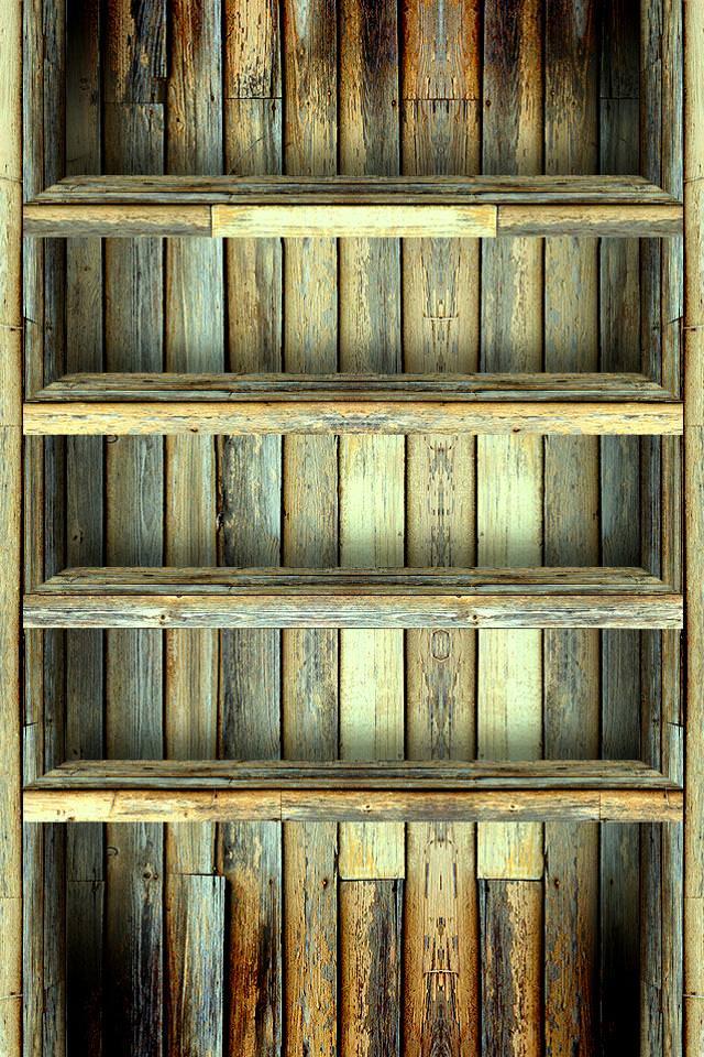 アンティークな本棚 スマホ用壁紙(iPhone用/640×960)