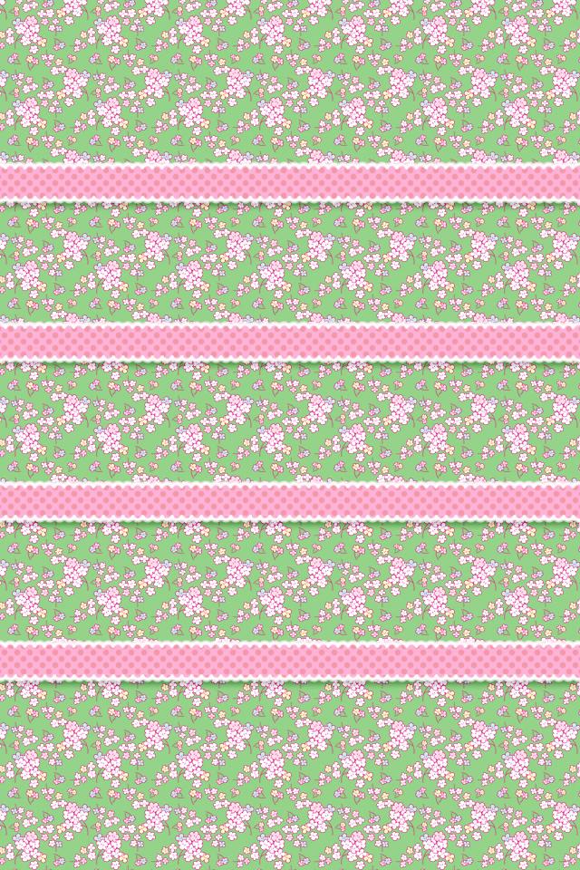 和風なサクラ(緑/ピンク) スマホ用壁紙(iPhone用/640×960)