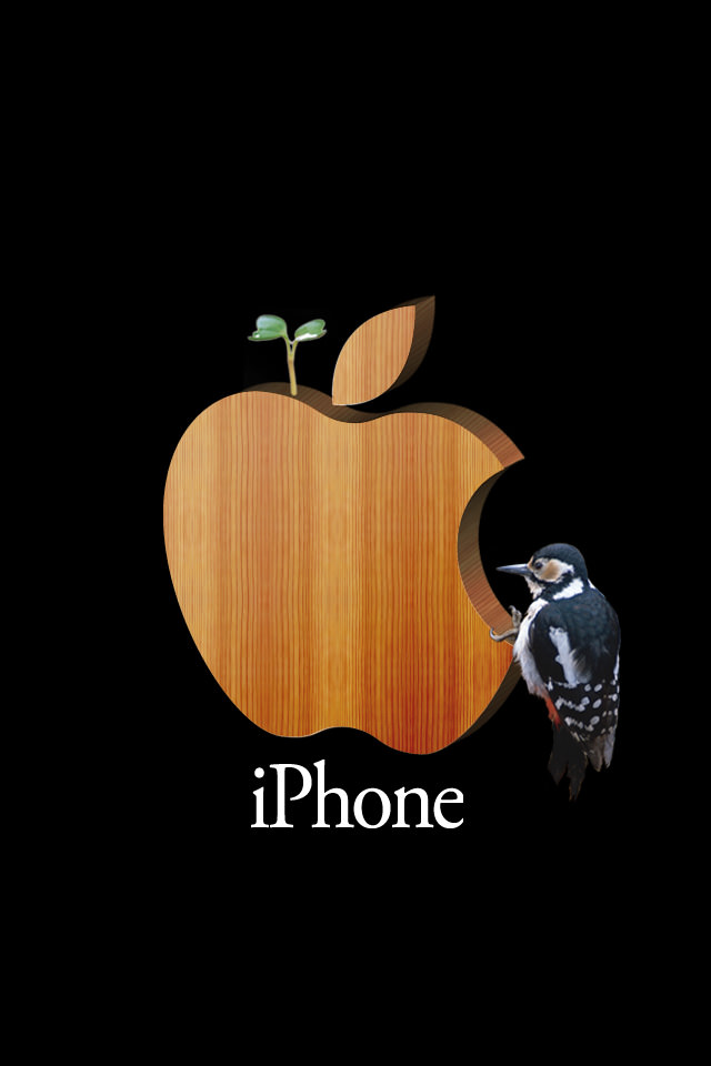 キツツキとAppleロゴ スマホ用壁紙(iPhone用/640×960)