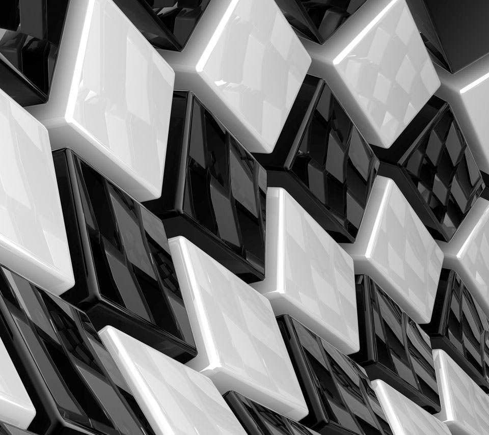 黒と白の空間 スマホ用壁紙(Android/960×854)