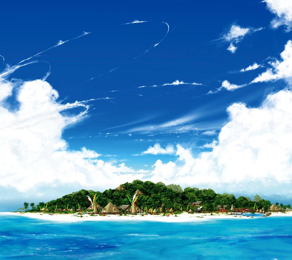 海に浮かぶ島