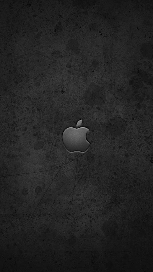 グランジ風のアップルロゴ iPhone5 スマホ用壁紙