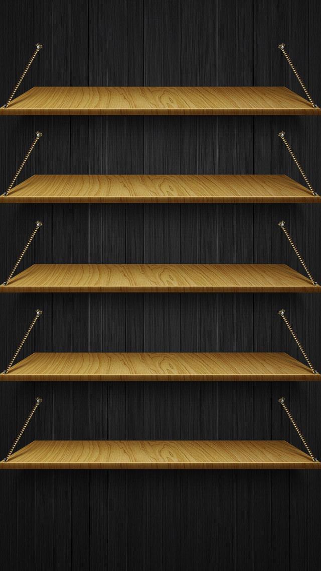 黒い棚 iPhone5 スマホ用壁紙