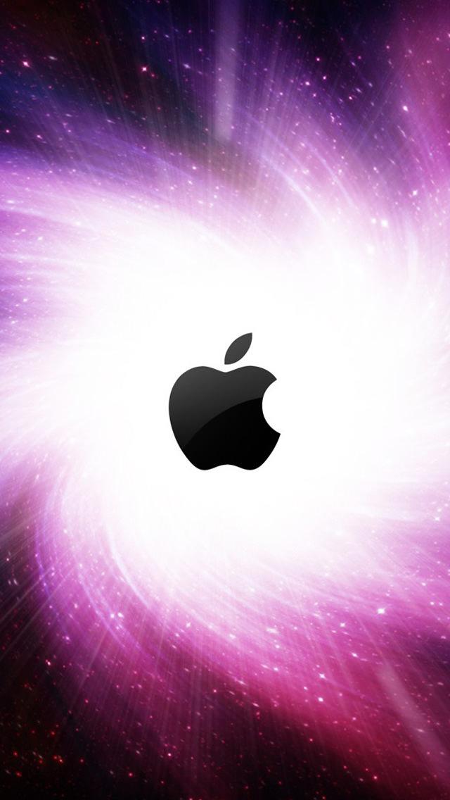 宇宙とアップルロゴ iPhone5 スマホ用壁紙