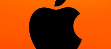 オレンジのアップルロゴ iPhone5 スマホ用壁紙