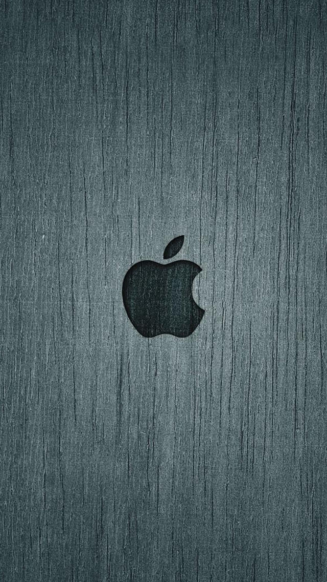 ウッド調のAppleロゴ iPhone5 スマホ用壁紙