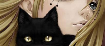黒猫と少女 Androidスマホ用壁紙