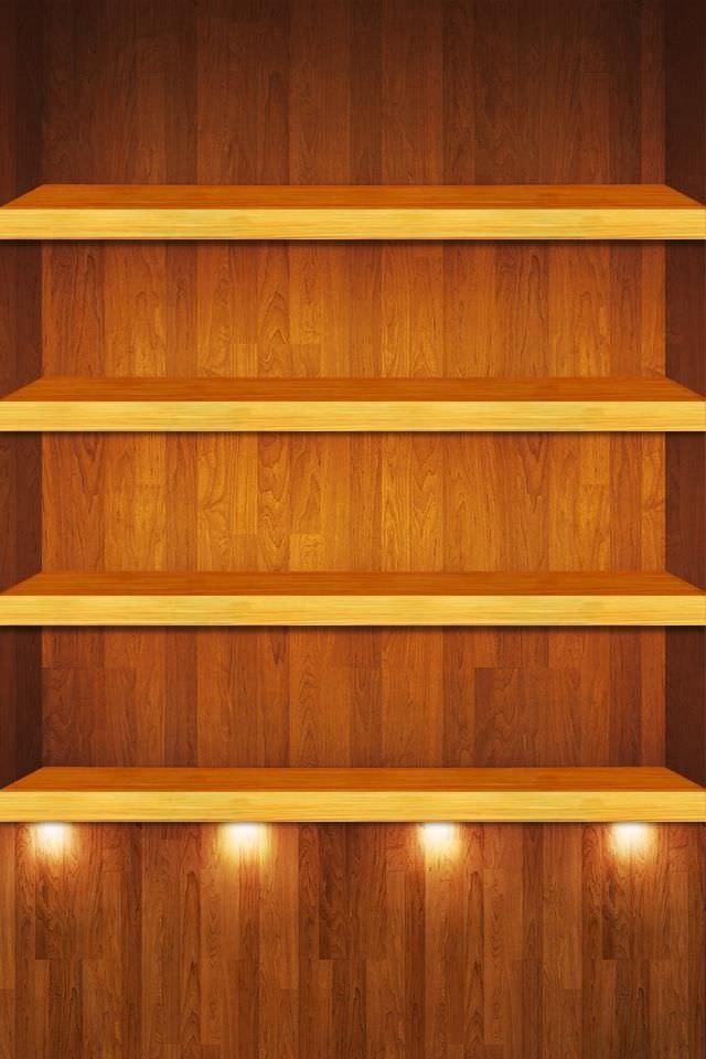 ライトアップされた棚 iPhoneスマホ用壁紙