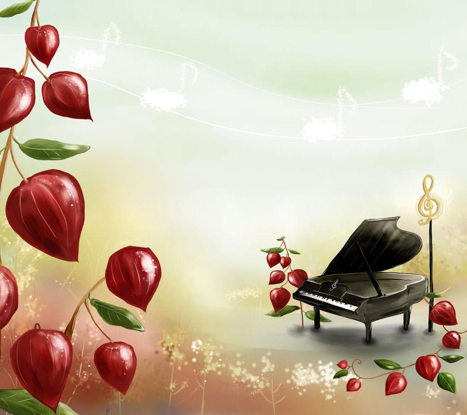 ピアノと無花果 Androidスマホ用壁紙