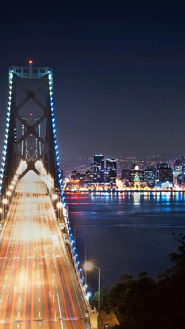 ライトアップされた夜景 iPhone5 スマホ用壁紙